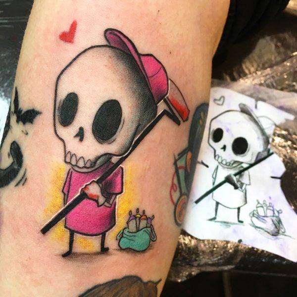 tatuaje chica calavera